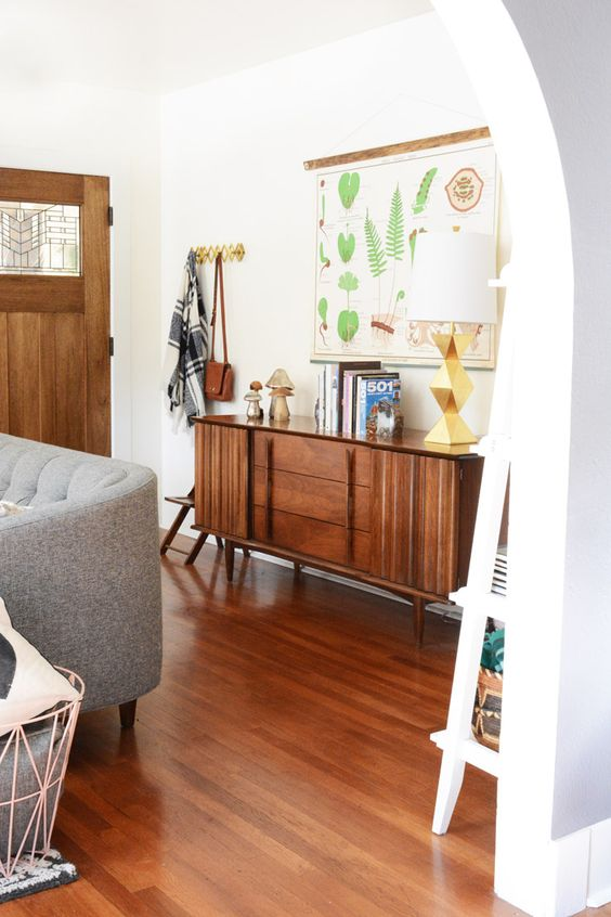 sideboard styling mid-century modern   entryway wood element credenza Feng Shui   Girlfriend is Better