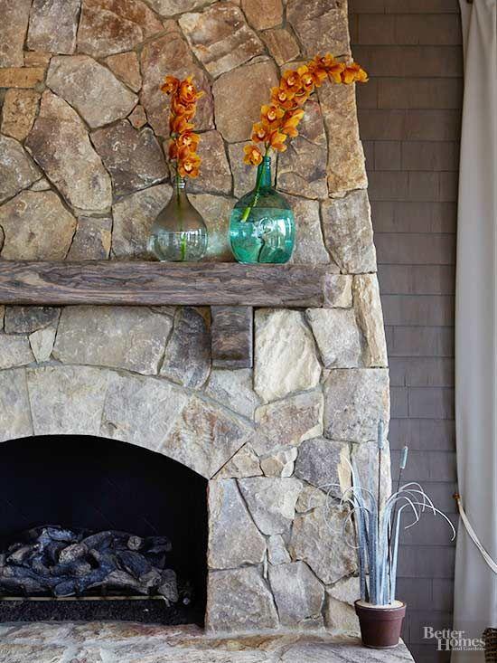Fall Hygge fireplace decor rustic stone wood mantle | Girlfriend is Better