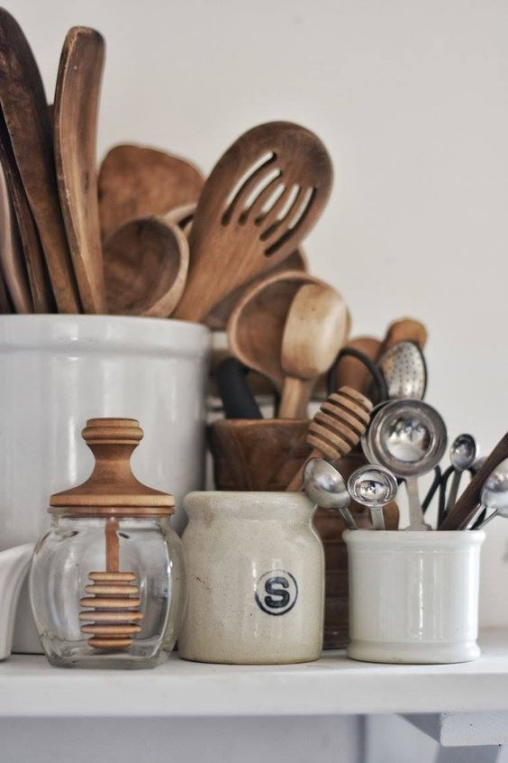 Fall Hygge ceramic canisters honey jar wood element | Girlfriend is Better