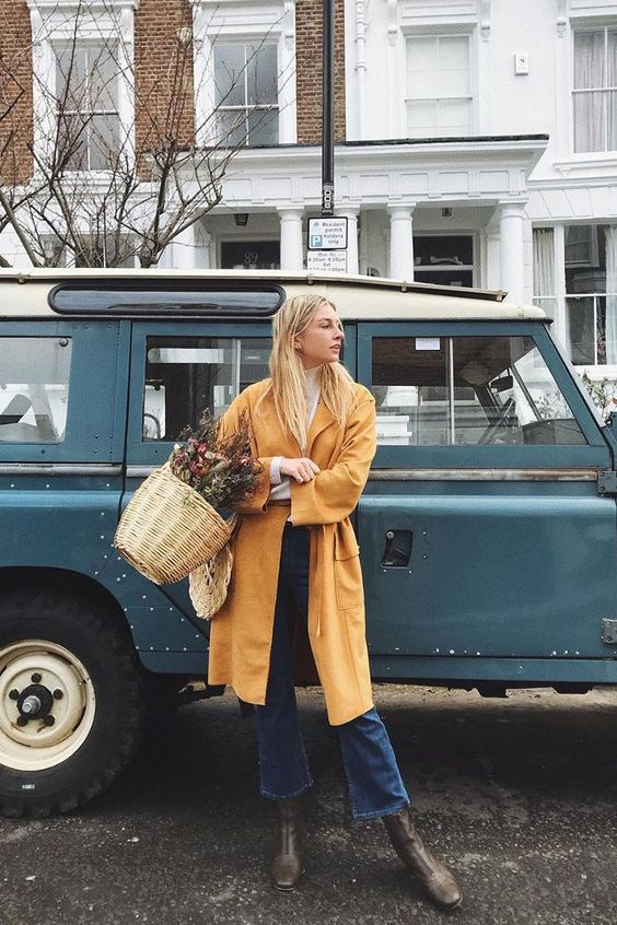 High-water pants cropped denim yellow coat French girl cool   Girlfriend is Better