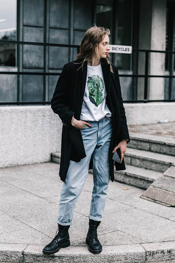 High-water pants rolled up denim jeans   London Fashion Week   Graphic tee black coat boots grunge   Girlfriend is Better