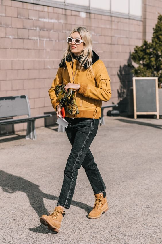 high-water pants black cropped denim yellow jacket Timberland boots   Girlfriend is Better
