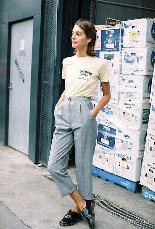 high-water pants plaid slacks oxfords tee   Girlfriend is Better
