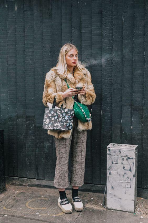 high-water pants plaid slacks faux fur coat   Girlfriend is Better