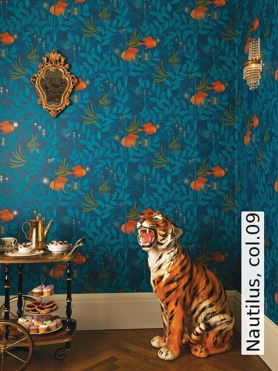 jungle decor blue wallpaper ceramic tiger | Girlfriend is Better