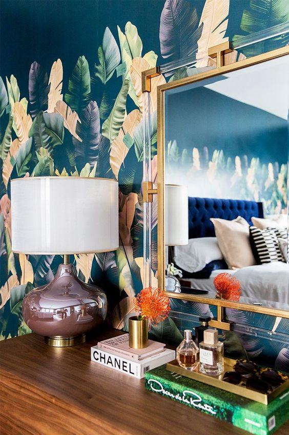 jungle decor banana leaf wallpaper structure mirror | Girlfriend is Better