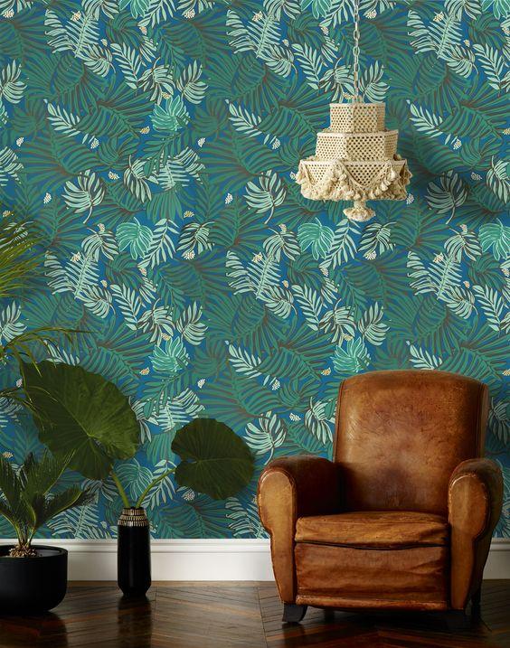 jungle decor teal leaves wallpaper | Girlfriend is Better