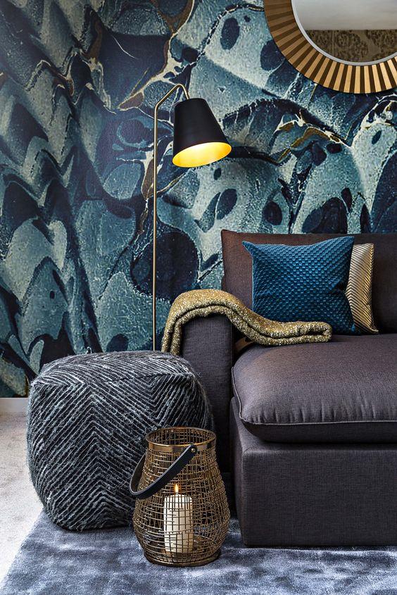 jungle decor graphic print wallpaper purple blue gold | Girlfriend is Better