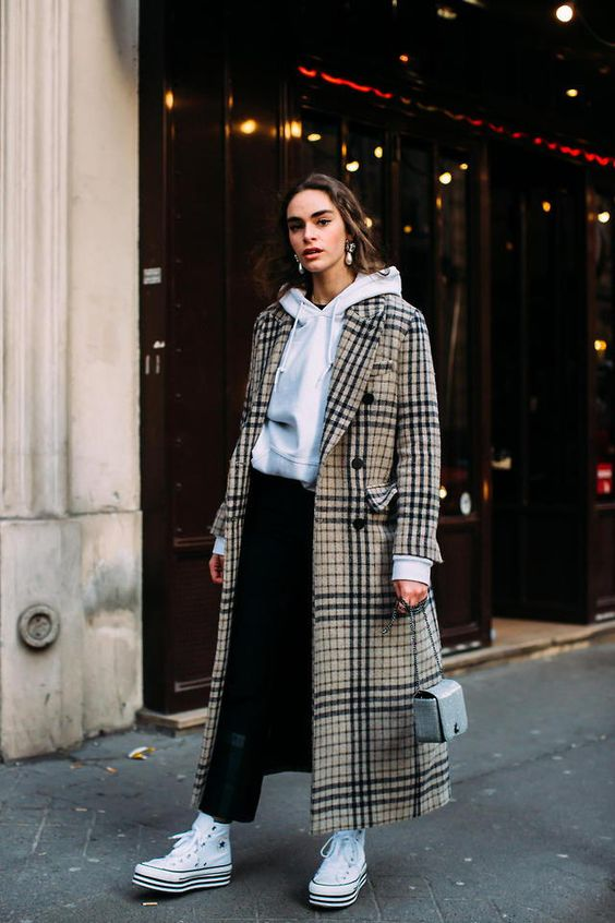 plaid trench coats white hoodie Converse | Girlfriend is Better