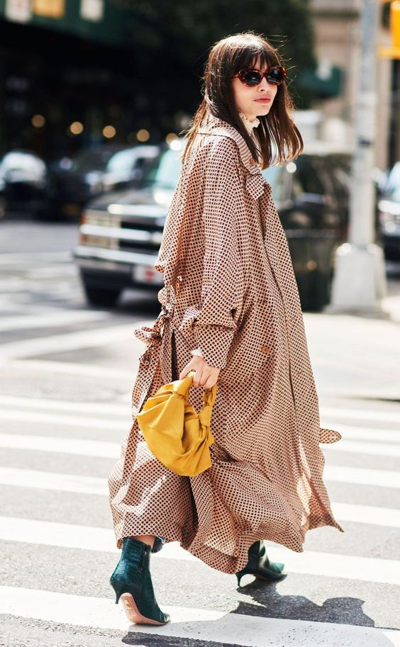 polka dot trench coats | green ankle boots gold bag | Girlfriend is Better
