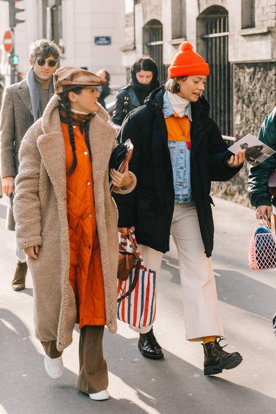 turtleneck layering Fall Winter coats jackets orange beanie brown flat cap high-water pants | Girlfriend is Better