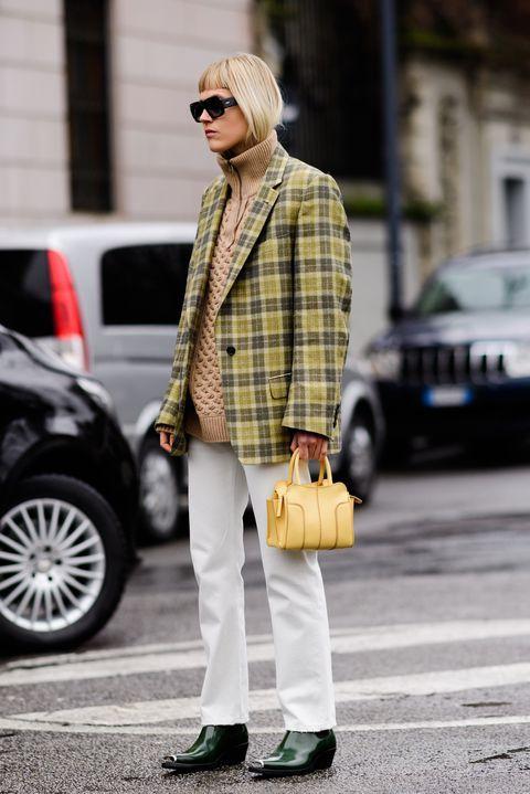 turtleneck zipper sweater layering plaid blazer | Girlfriend is Better