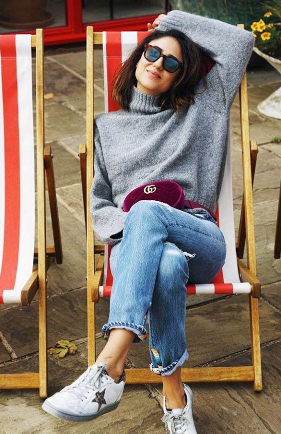 grey turtleneck sweater maroon fanny pack | Girlfriend is Better