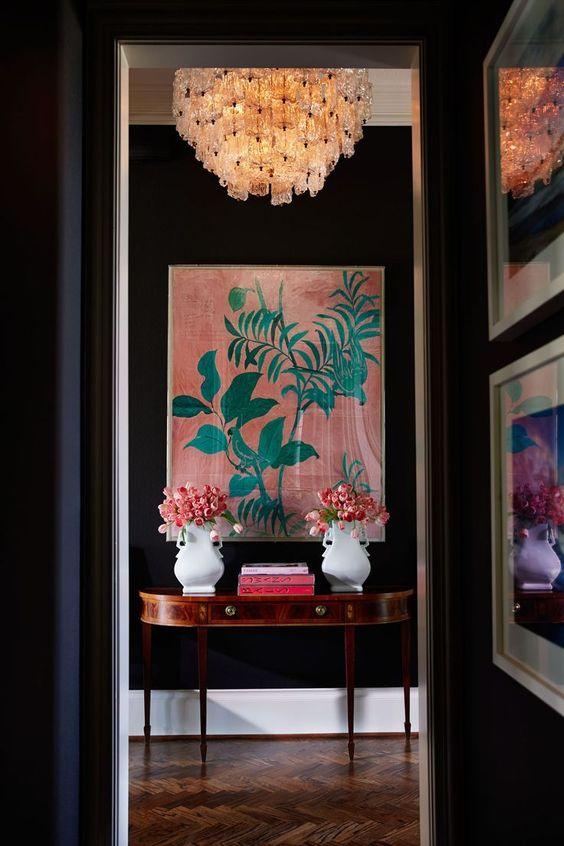 chinoiserie black walls chandelier   coral pink celadon Paule Marrot art work   Girlfriend is Better