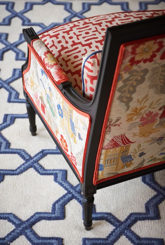chinoiserie chic   Asian scenic geometric fabric chair area rug   Girlfriend is Better