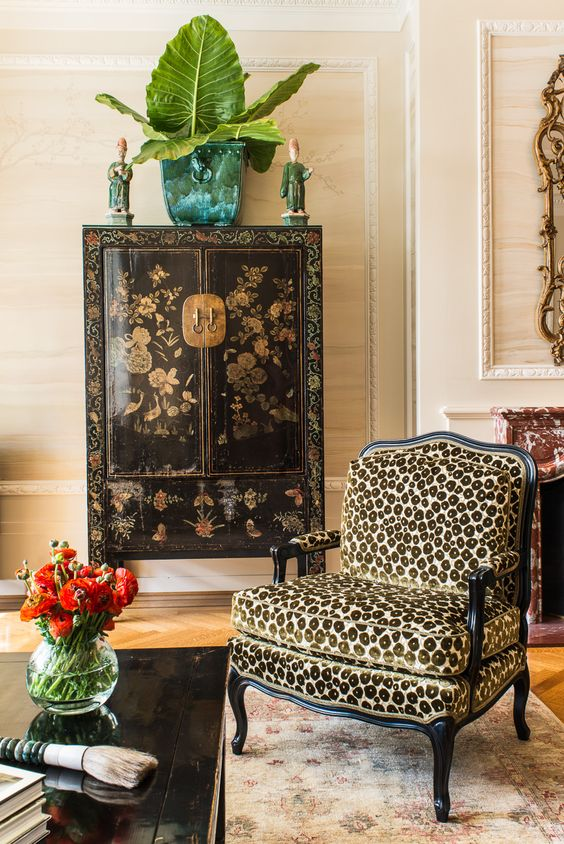 chinoiserie Chinese cabinet leopard print chair living room   Girlfriend is Better