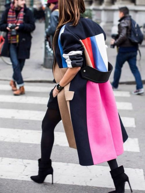 black colored tights color blocked full-length coat | Girlfriend is Better