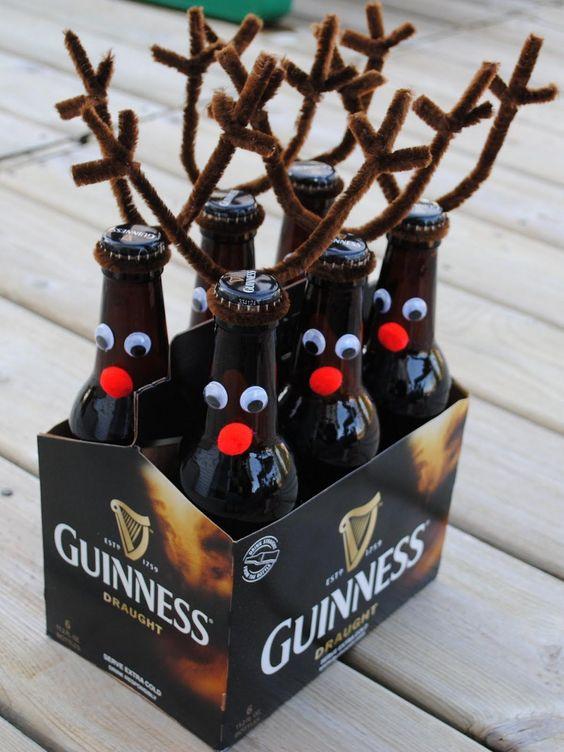 DIY Christmas gifts   six pack o'Reindeer Guinness beer   Girlfriend is Better