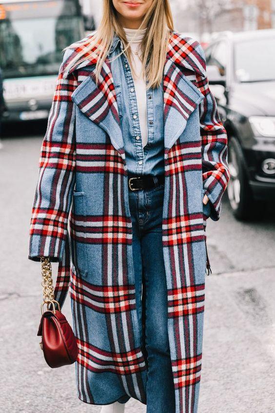full-length coats wool plaid denim red blue   Girlfriend is Better