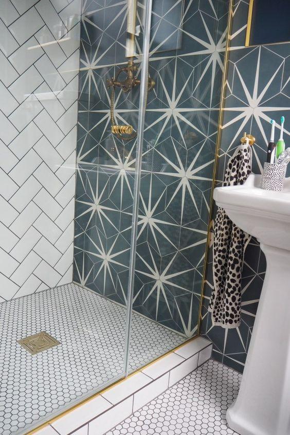 graphic tile | mid-century modern starburst bathroom | Girlfriend is Better
