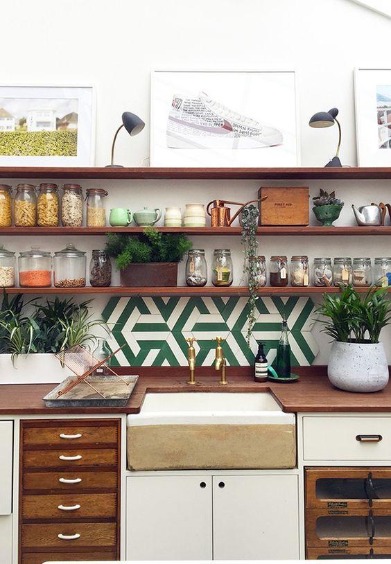 graphic tile | kitchen backsplash ceramic green white open shelving | Girlfriend is Better