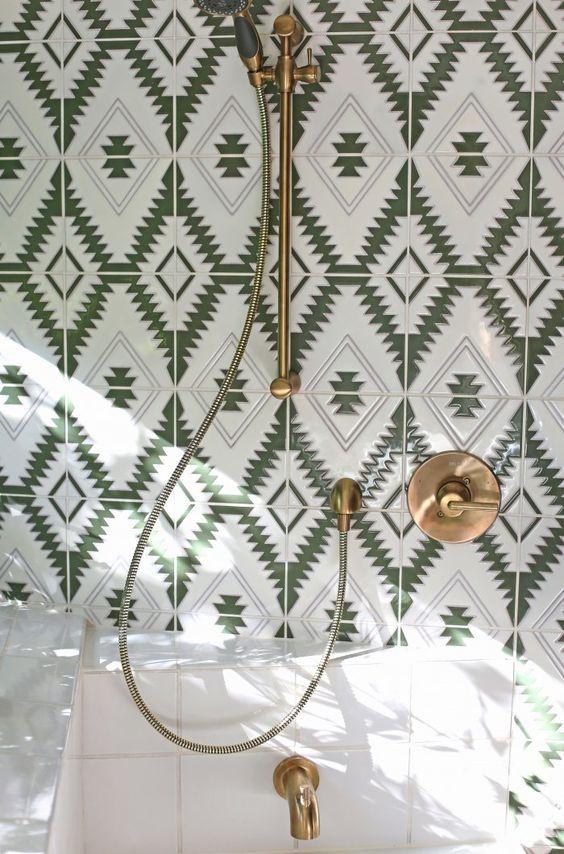 graphic tile | handpainted custom bathroom Southwestern print | Girlfriend is Better