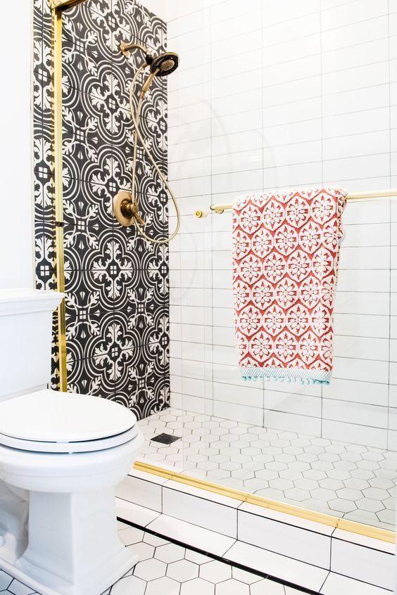 graphic tile | Spanish style glam bathroom shower | Girlfriend is Better