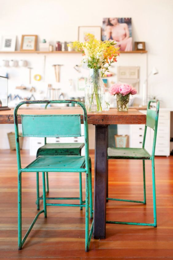 metal element Feng Shui   vintage green work studio chairs French country wood table flooring   Girlfriend is Better