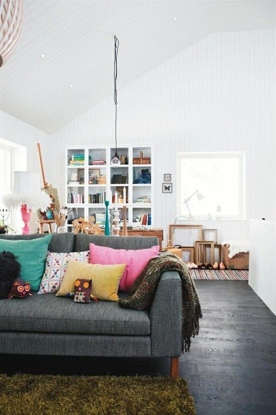 metal element Feng Shui   grey mid-century modern sofa white living room   Girlfriend is Better