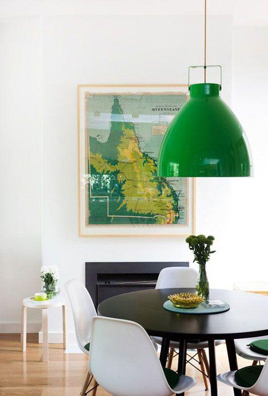metal element Feng Shui   green mid-century modern Jielde lamp light white dining room chairs   Girlfriend is Better