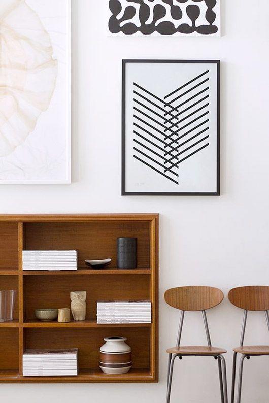 metal element Feng Shui   art print black lines vintage school chairs book shelf   Girlfriend is Better