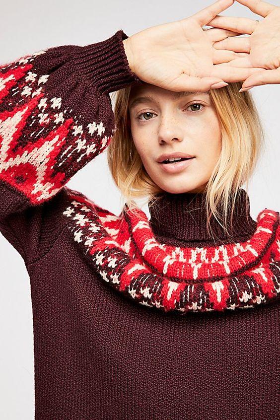 pretty Christmas sweater   Fair Isle sweater dress zig zag turtleneck   Girlfriend is Better