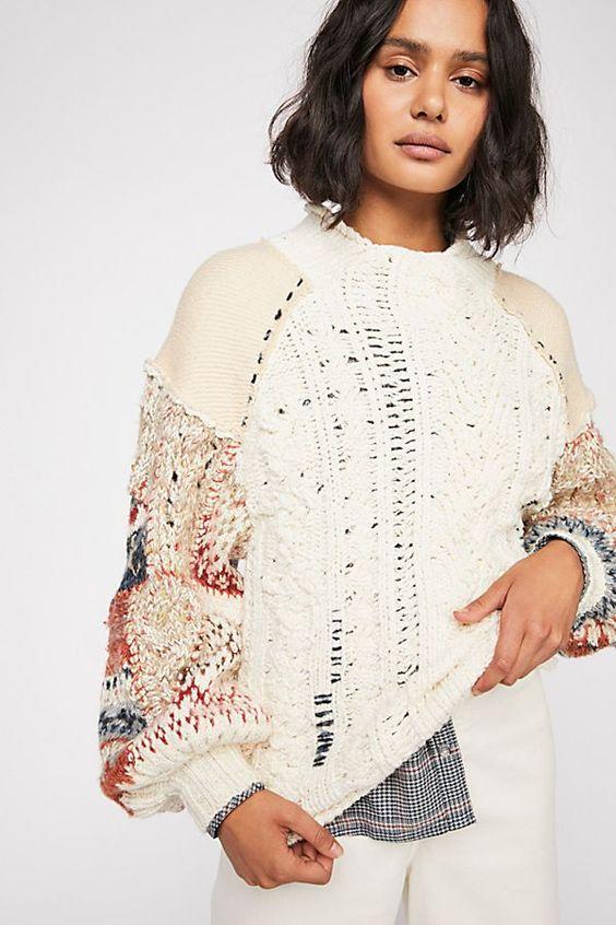 pretty Christmas sweater | chunky knit mock neck unfinished hem | Girlfriend is Better