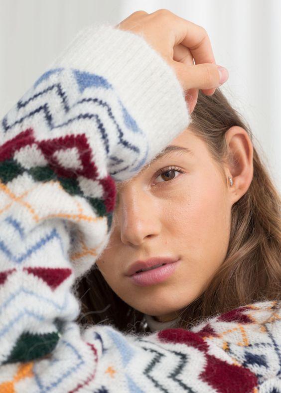 pretty Christmas sweater | crewneck Fair Isle zig zag pattern | Girlfriend is Better