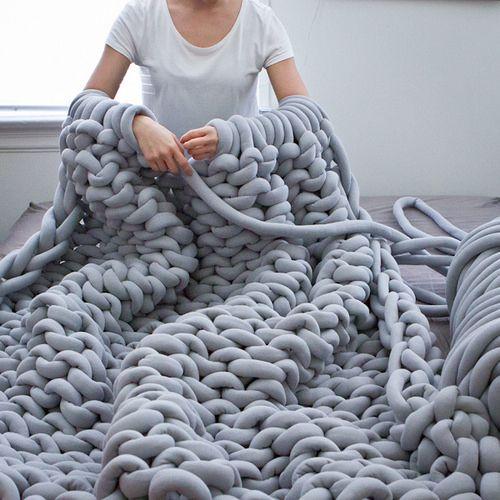 Chunky Knit Blanket DIY | grey arm knitting wool | Girlfriend is Better