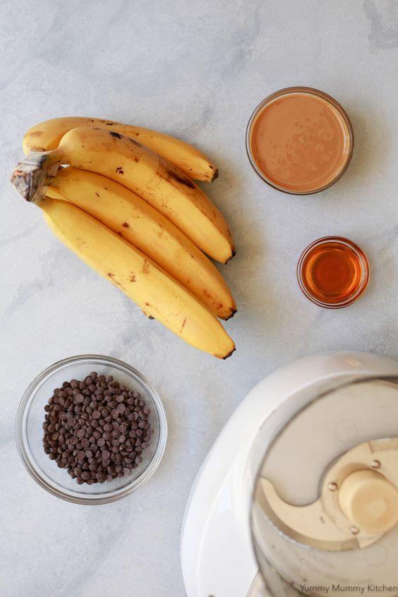 Nice Cream | frozen ripe bananas nut butter chocolate chips honey | Girlfriend is Better