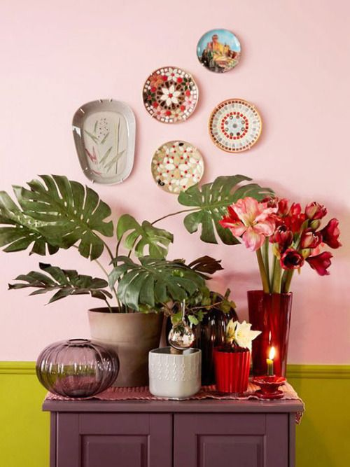Pink Walls   eclectic gallery wall monstera deliciosa console table vignette   Girlfriend is Better