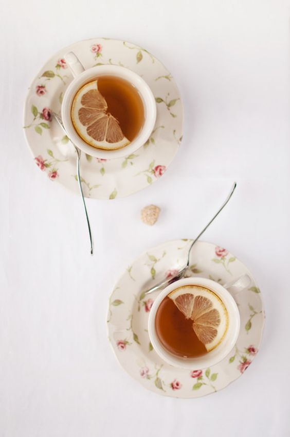 Afternoon Tea | Lemon in floral china cup and plate | Girlfriend is Better