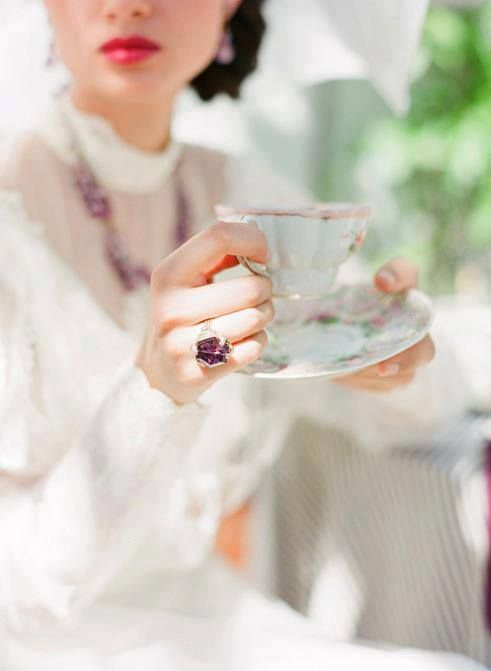 Afternoon Tea | Woman dressed in white while holding teacup | Girlfriend is Better