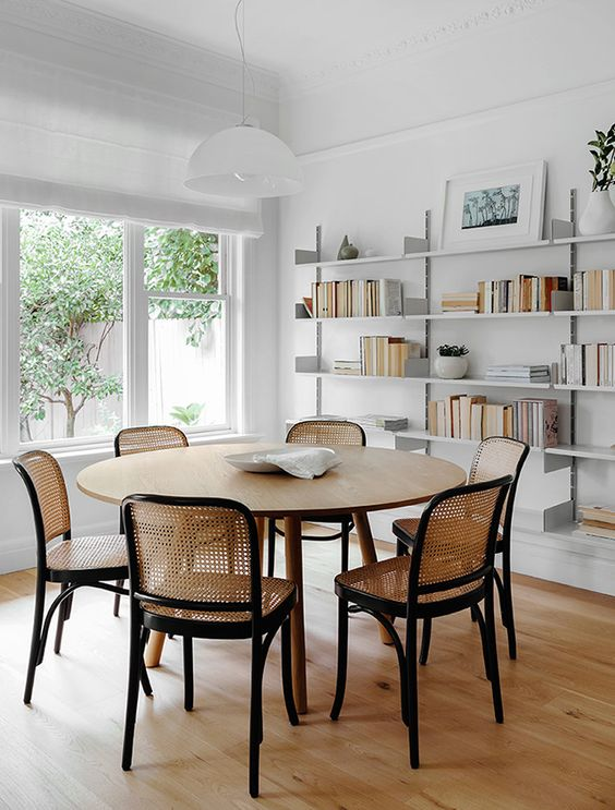 caned chairs   dining room chairs open shelving minimal decor   Girlfriend is Better