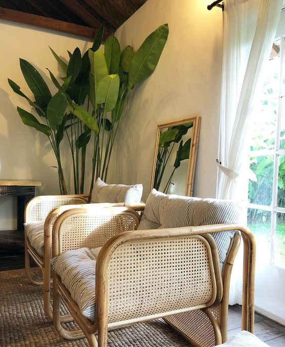 caned chairs   bamboo lounge chairs living room Bohemian vintage   Girlfriend is Better