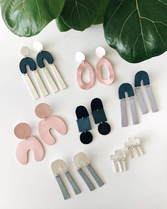 ceramic earrings   handmade pastel organic shapes 80s fashion   Girlfriend is Better