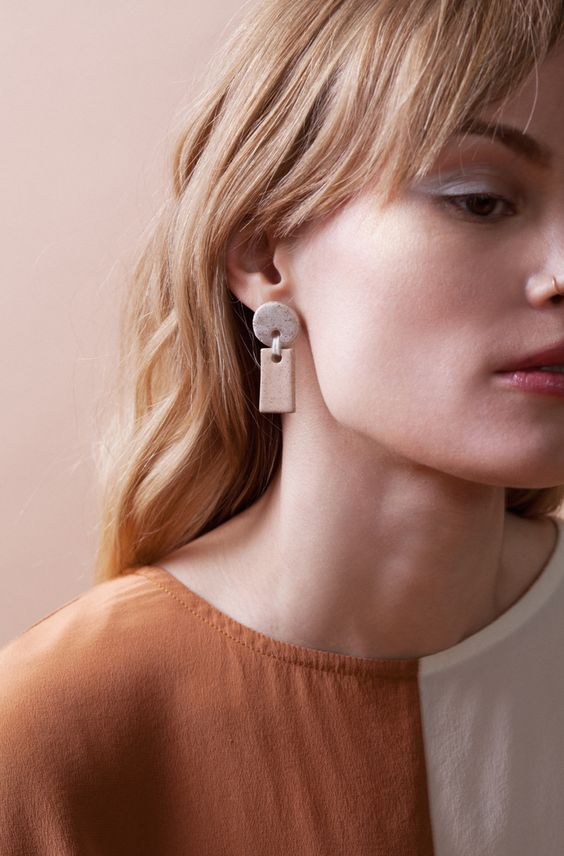 speckled ceramic earrings   circle rectangle organic shapes minimalism   Girlfriend is Better