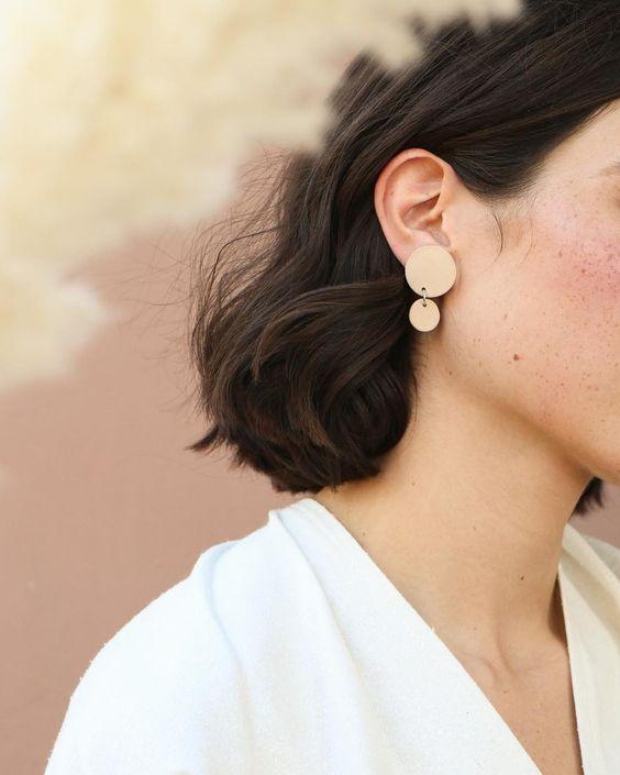 handmade ceramic earrings   minimalism accessories 80s fashion geometric pastels   Girlfriend is Better