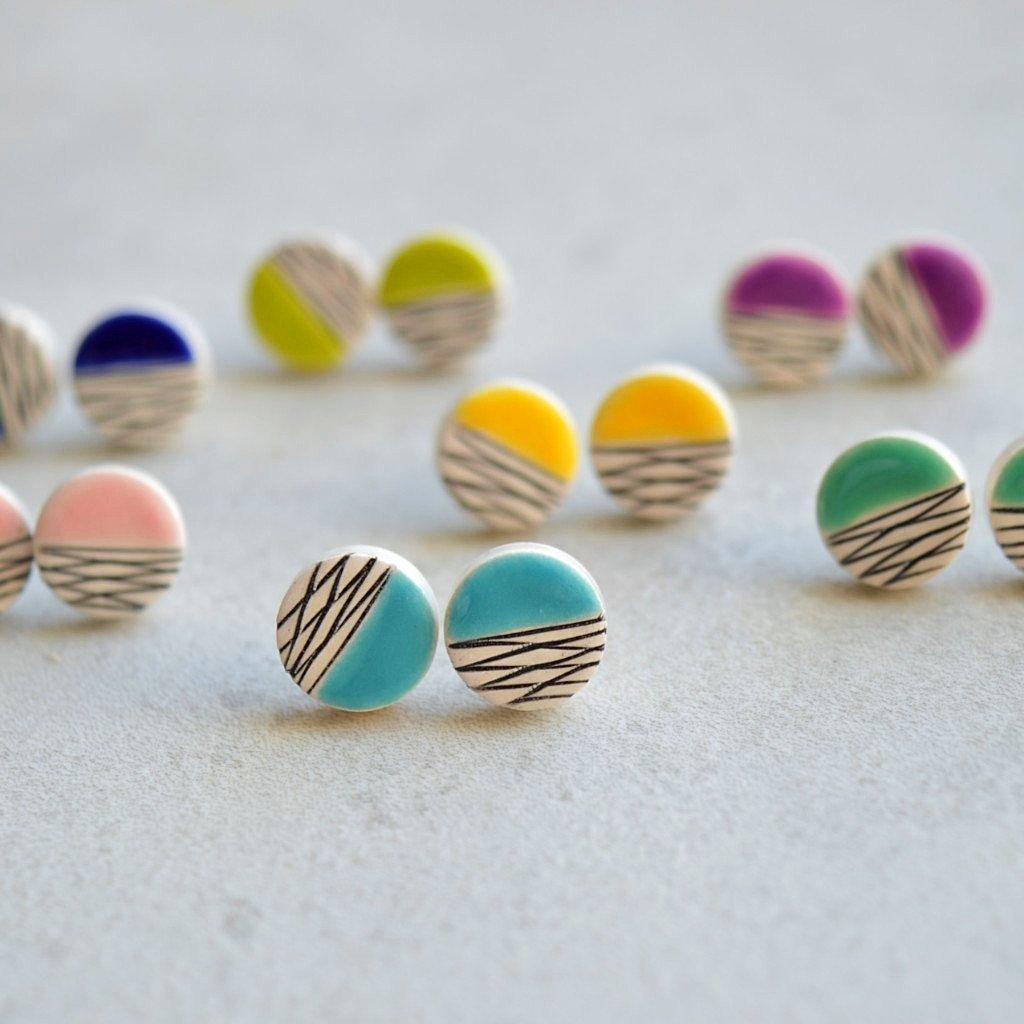 ceramic earrings   stud round geometric 80s fashion pastel glazed earthenware clay   Girlfriend is Better