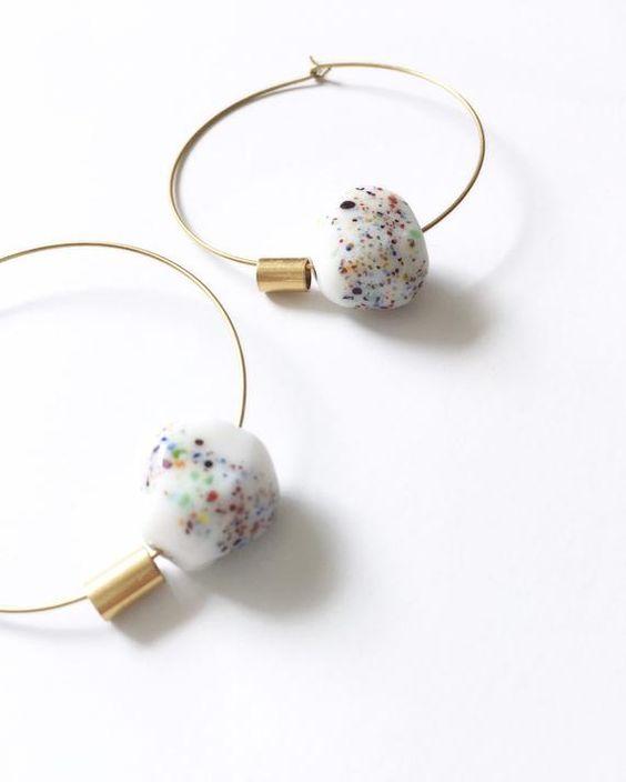 speckled ceramic earrings   porcelain minimal vintage brass hoops handmade   Girlfriend is Better