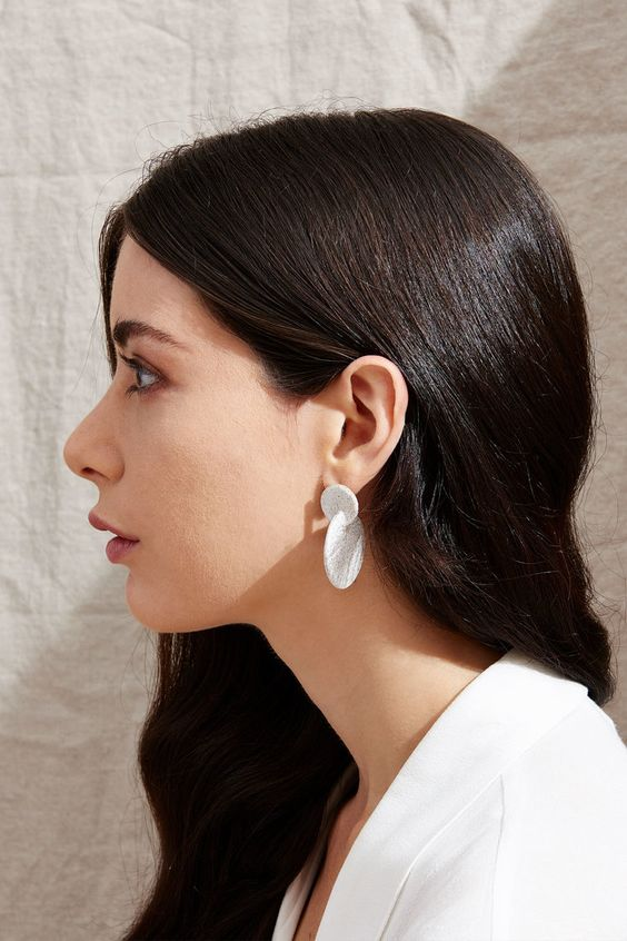 ceramic earrings   intersecting discs minimal fashion natural accessories   Girlfriend is Better