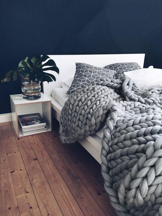 chunky knit blankets | handmade merino wool grey jungle decor | Girlfriend is Better