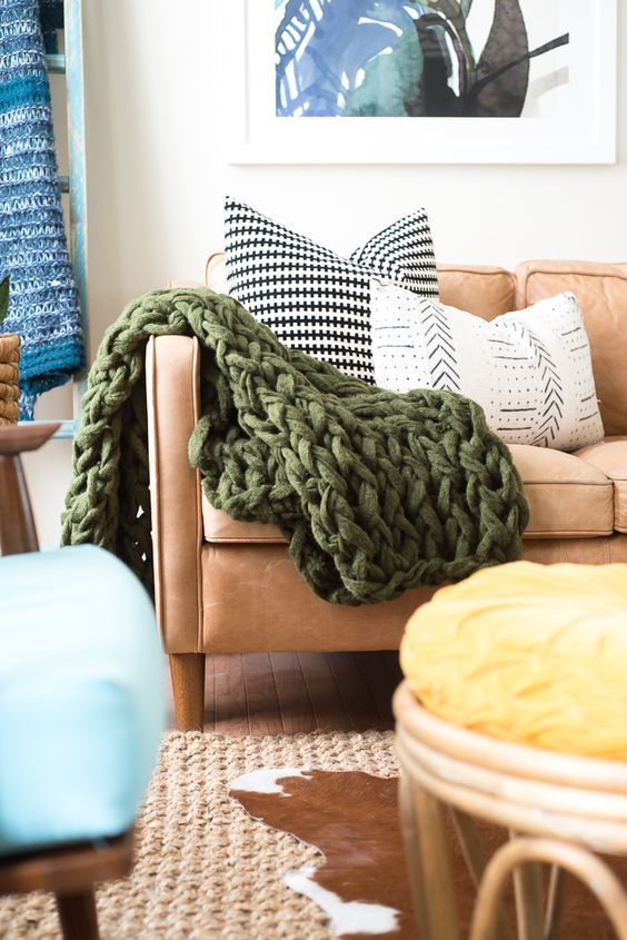 chunky knit blankets | green throw Bohemian living room | Girlfriend is Better