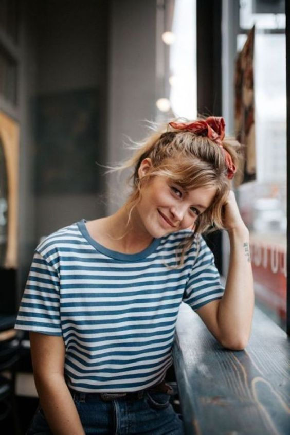 hair ribbons   ponytail striped tee French girl cool   Girlfriend is Better